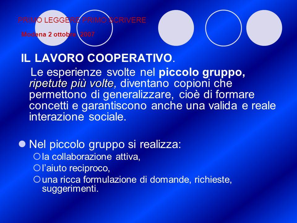 PRIMO LEGGERE PRIMO SCRIVERE Modena 2 ottobre 2007 IL LAVORO COOPERATIVO. ripetute più volte Le esperienze svolte nel piccolo gruppo, ripetute più vol