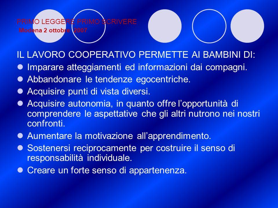 PRIMO LEGGERE PRIMO SCRIVERE Modena 2 ottobre 2007 IL LAVORO COOPERATIVO PERMETTE AI BAMBINI DI: Imparare atteggiamenti ed informazioni dai compagni.