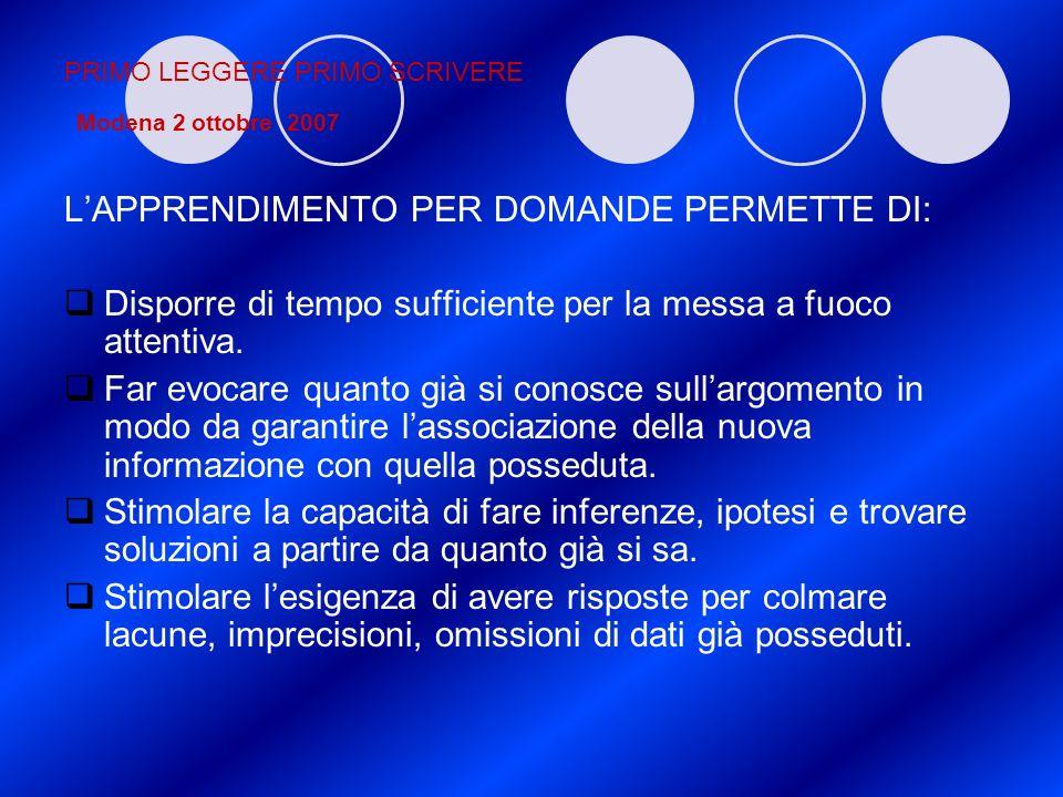 PRIMO LEGGERE PRIMO SCRIVERE Modena 2 ottobre 2007 LAPPRENDIMENTO PER DOMANDE PERMETTE DI: Disporre di tempo sufficiente per la messa a fuoco attentiv