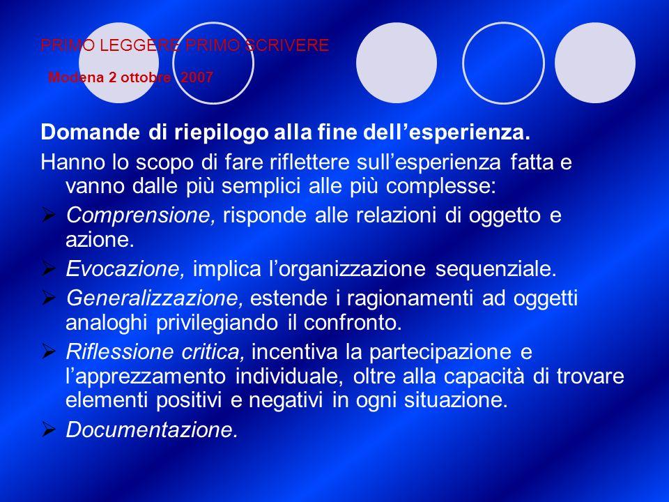 PRIMO LEGGERE PRIMO SCRIVERE Modena 2 ottobre 2007 Domande di riepilogo alla fine dellesperienza. Hanno lo scopo di fare riflettere sullesperienza fat