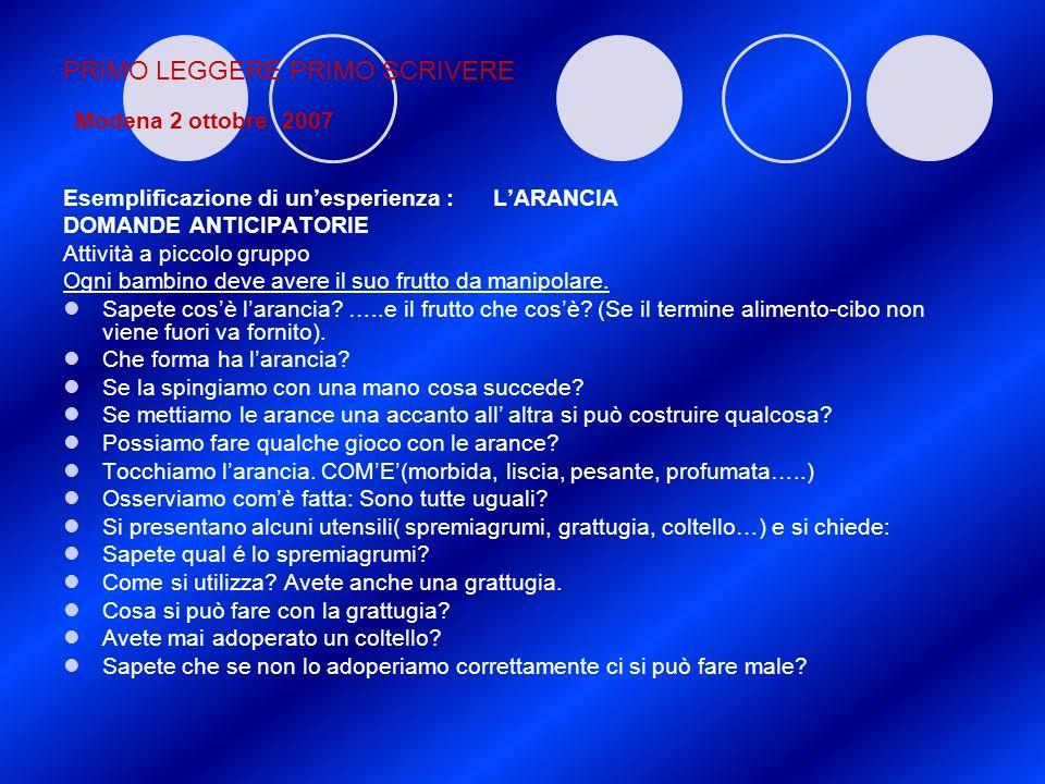 PRIMO LEGGERE PRIMO SCRIVERE Modena 2 ottobre 2007 Esemplificazione di unesperienza : LARANCIA DOMANDE ANTICIPATORIE Attività a piccolo gruppo Ogni ba