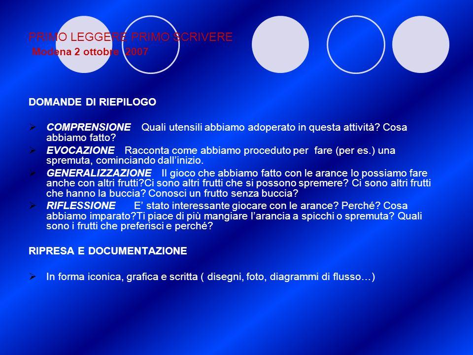 PRIMO LEGGERE PRIMO SCRIVERE Modena 2 ottobre 2007 DOMANDE DI RIEPILOGO COMPRENSIONE Quali utensili abbiamo adoperato in questa attività? Cosa abbiamo