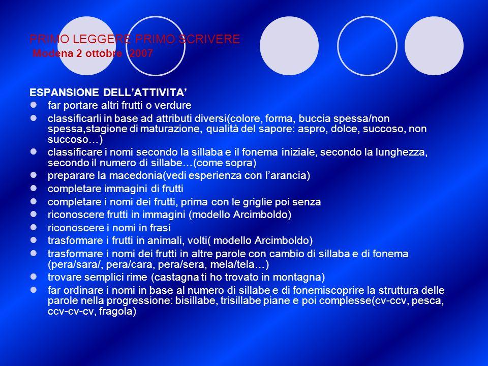 PRIMO LEGGERE PRIMO SCRIVERE Modena 2 ottobre 2007 ESPANSIONE DELLATTIVITA far portare altri frutti o verdure classificarli in base ad attributi diver