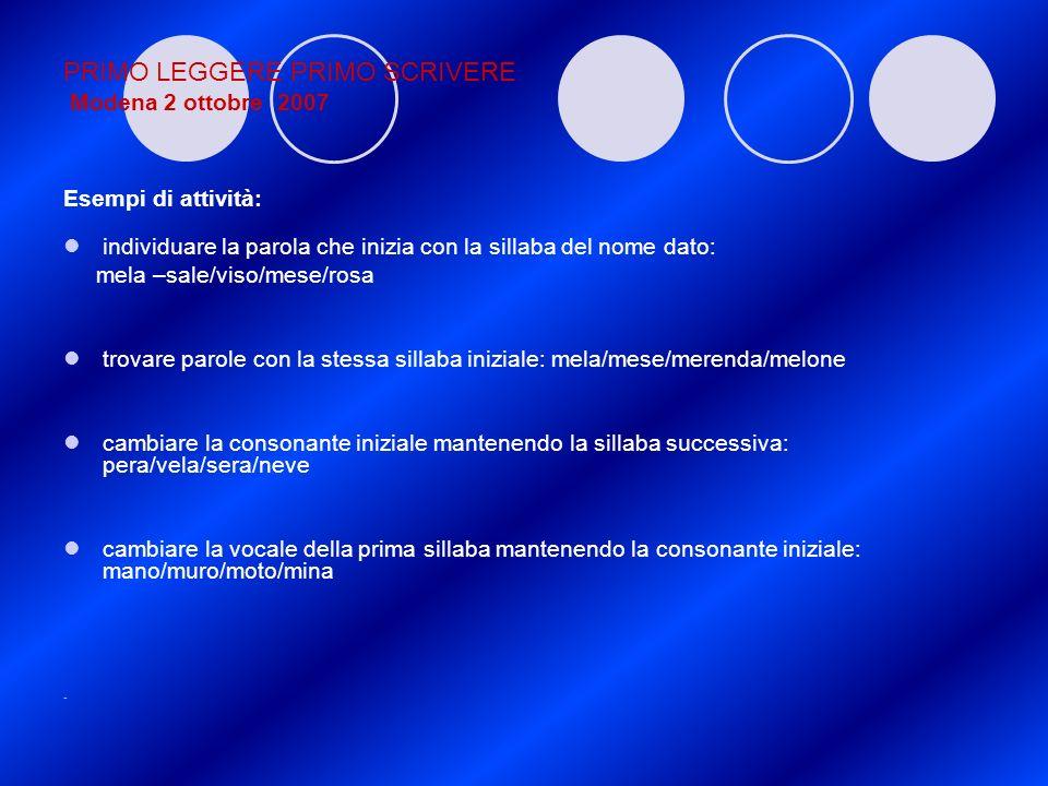 PRIMO LEGGERE PRIMO SCRIVERE Modena 2 ottobre 2007 Esempi di attività: individuare la parola che inizia con la sillaba del nome dato: mela –sale/viso/