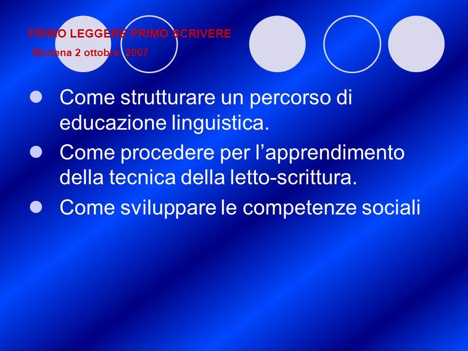 PRIMO LEGGERE PRIMO SCRIVERE Modena 2 ottobre 2007 Come strutturare un percorso di educazione linguistica. Come procedere per lapprendimento della tec