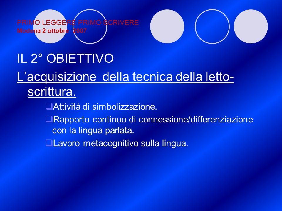 PRIMO LEGGERE PRIMO SCRIVERE Modena 2 ottobre 2007 IL 2° OBIETTIVO Lacquisizione della tecnica della letto- scrittura. Attività di simbolizzazione. Ra