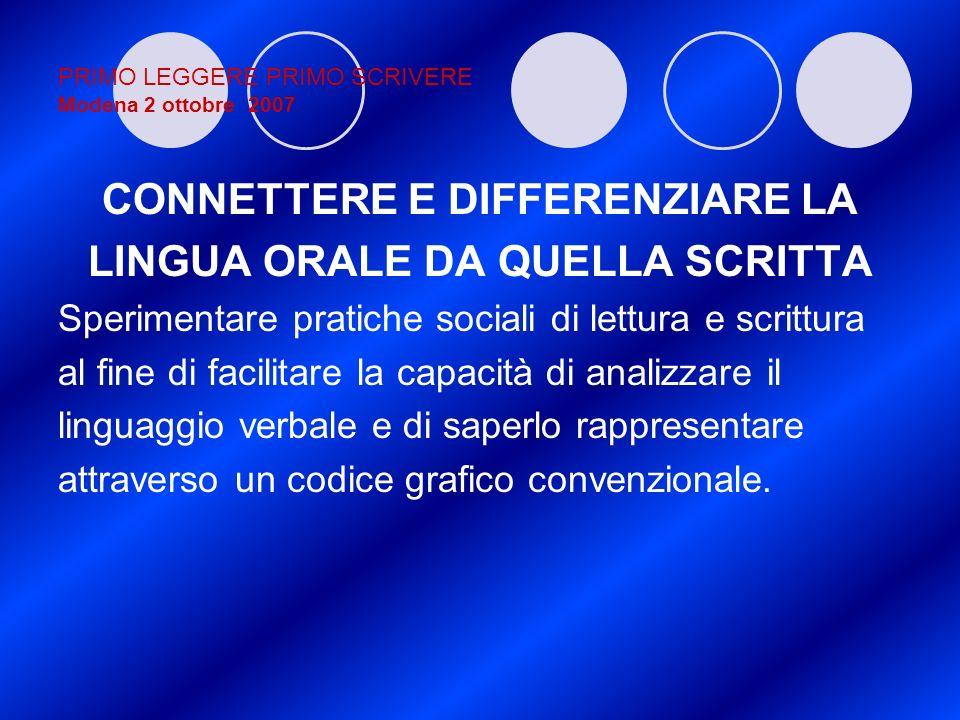 PRIMO LEGGERE PRIMO SCRIVERE Modena 2 ottobre 2007 CONNETTERE E DIFFERENZIARE LA LINGUA ORALE DA QUELLA SCRITTA Sperimentare pratiche sociali di lettu