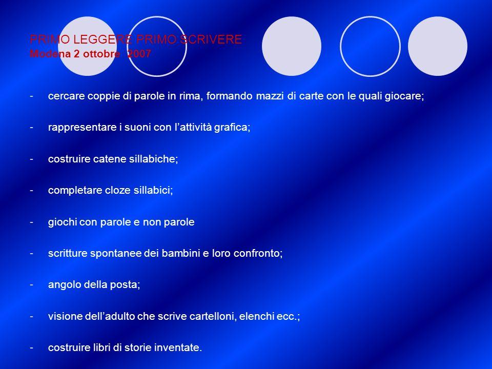 PRIMO LEGGERE PRIMO SCRIVERE Modena 2 ottobre 2007 -cercare coppie di parole in rima, formando mazzi di carte con le quali giocare; -rappresentare i s