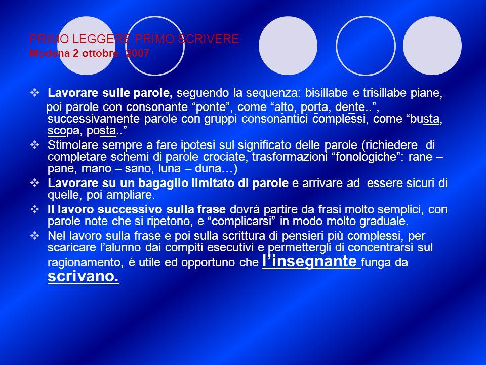 PRIMO LEGGERE PRIMO SCRIVERE Modena 2 ottobre 2007 Lavorare sulle parole, seguendo la sequenza: bisillabe e trisillabe piane, poi parole con consonant
