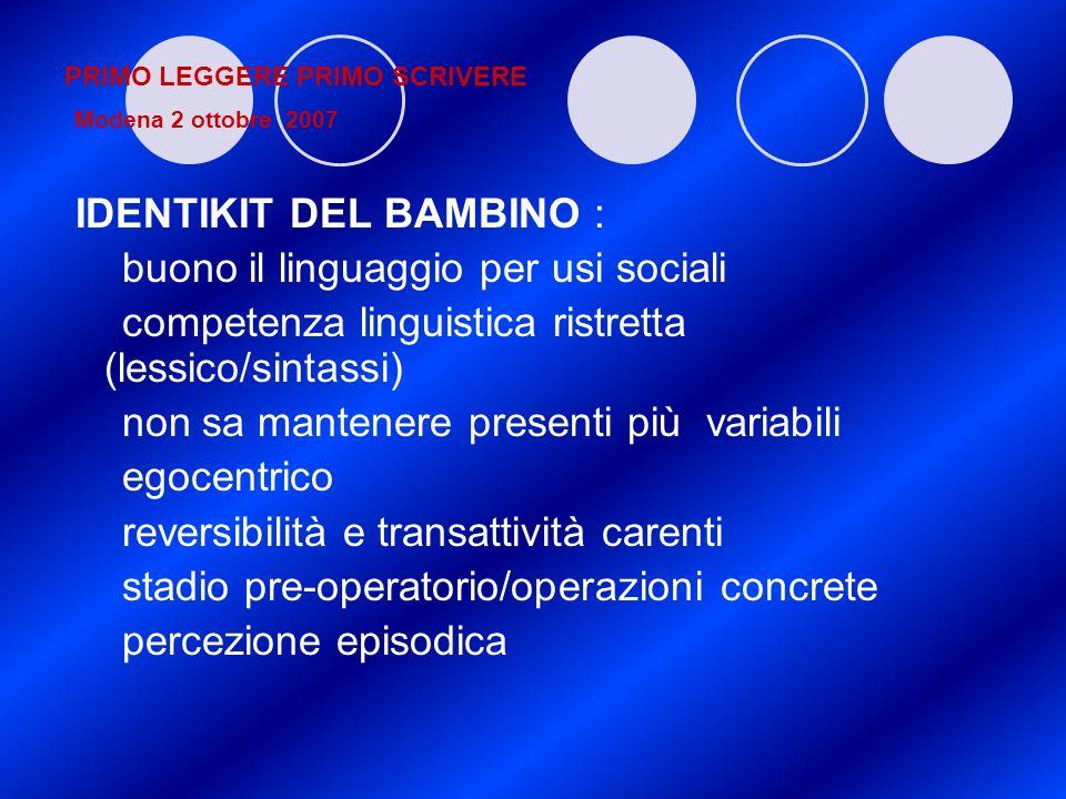 PRIMO LEGGERE PRIMO SCRIVERE Modena 2 ottobre 2007 IDENTIKIT DEL BAMBINO : buono il linguaggio per usi sociali competenza linguistica ristretta (lessi