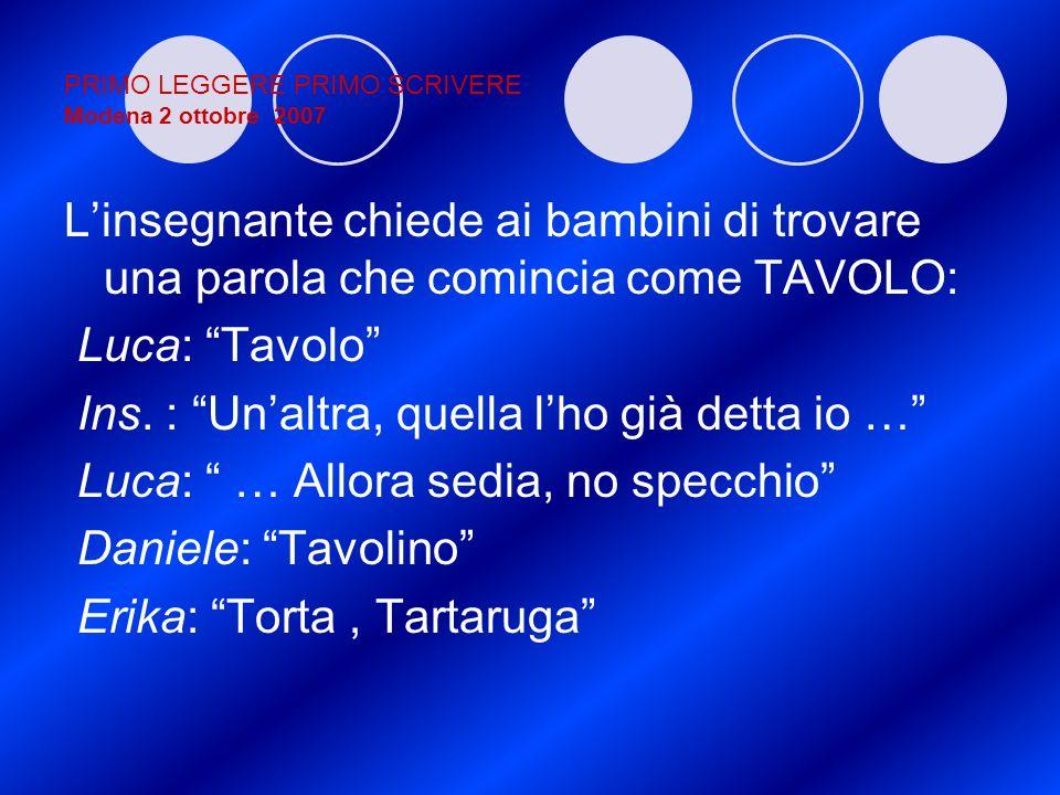 PRIMO LEGGERE PRIMO SCRIVERE Modena 2 ottobre 2007 Linsegnante chiede ai bambini di trovare una parola che comincia come TAVOLO: Luca: Tavolo Ins. : U