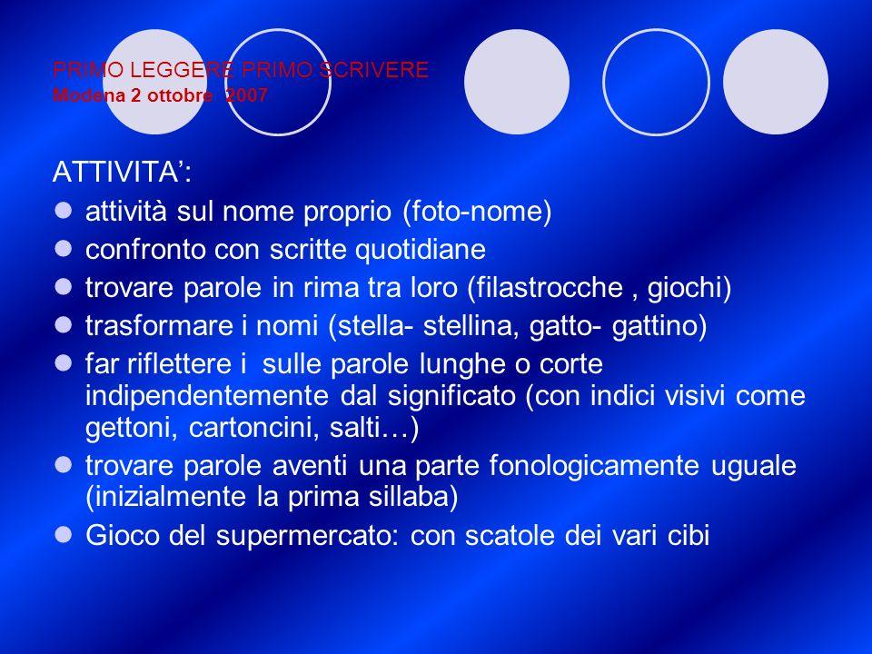 PRIMO LEGGERE PRIMO SCRIVERE Modena 2 ottobre 2007 ATTIVITA: attività sul nome proprio (foto-nome) confronto con scritte quotidiane trovare parole in