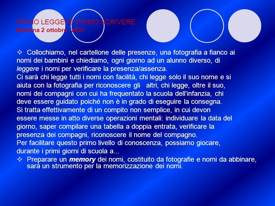 PRIMO LEGGERE PRIMO SCRIVERE Modena 2 ottobre 2007 Collochiamo, nel cartellone delle presenze, una fotografia a fianco ai nomi dei bambini e chiediamo