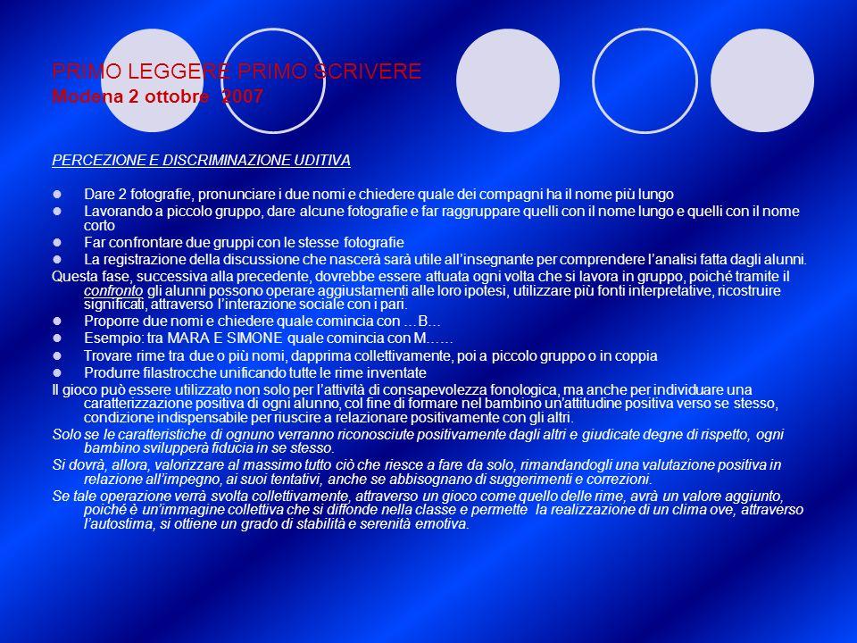 PRIMO LEGGERE PRIMO SCRIVERE Modena 2 ottobre 2007 PERCEZIONE E DISCRIMINAZIONE UDITIVA Dare 2 fotografie, pronunciare i due nomi e chiedere quale dei