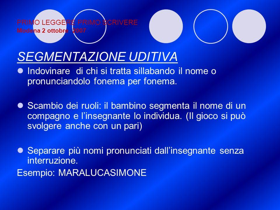 PRIMO LEGGERE PRIMO SCRIVERE Modena 2 ottobre 2007 SEGMENTAZIONE UDITIVA Indovinare di chi si tratta sillabando il nome o pronunciandolo fonema per fo