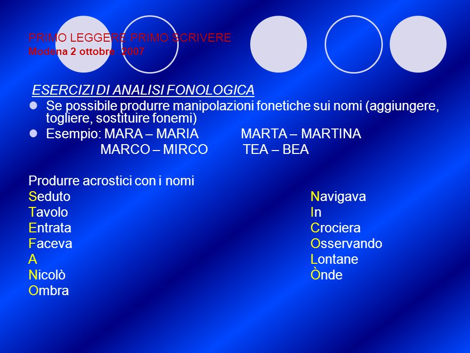 PRIMO LEGGERE PRIMO SCRIVERE Modena 2 ottobre 2007 ESERCIZI DI ANALISI FONOLOGICA Se possibile produrre manipolazioni fonetiche sui nomi (aggiungere,