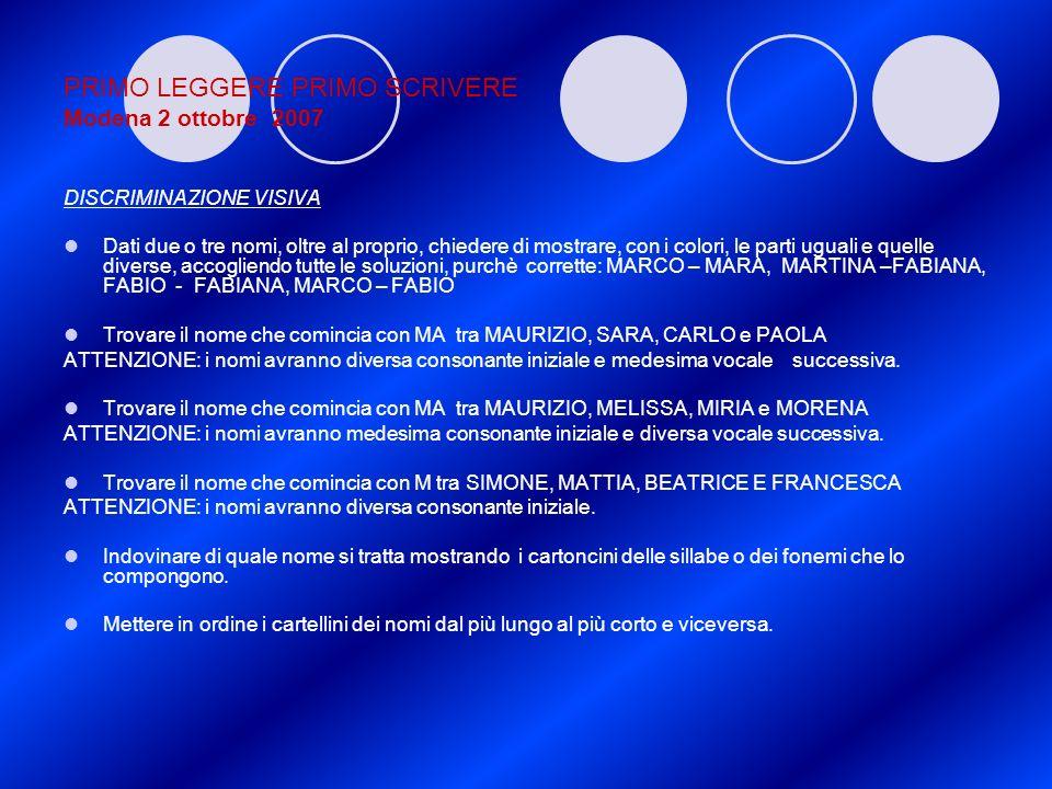 PRIMO LEGGERE PRIMO SCRIVERE Modena 2 ottobre 2007 DISCRIMINAZIONE VISIVA Dati due o tre nomi, oltre al proprio, chiedere di mostrare, con i colori, l