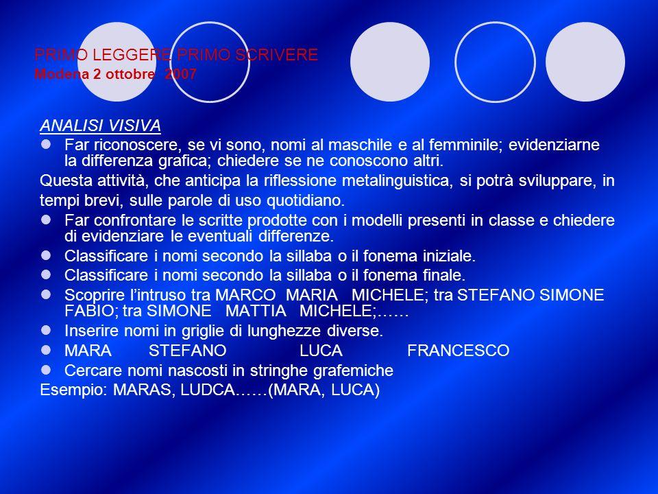 PRIMO LEGGERE PRIMO SCRIVERE Modena 2 ottobre 2007 ANALISI VISIVA Far riconoscere, se vi sono, nomi al maschile e al femminile; evidenziarne la differ