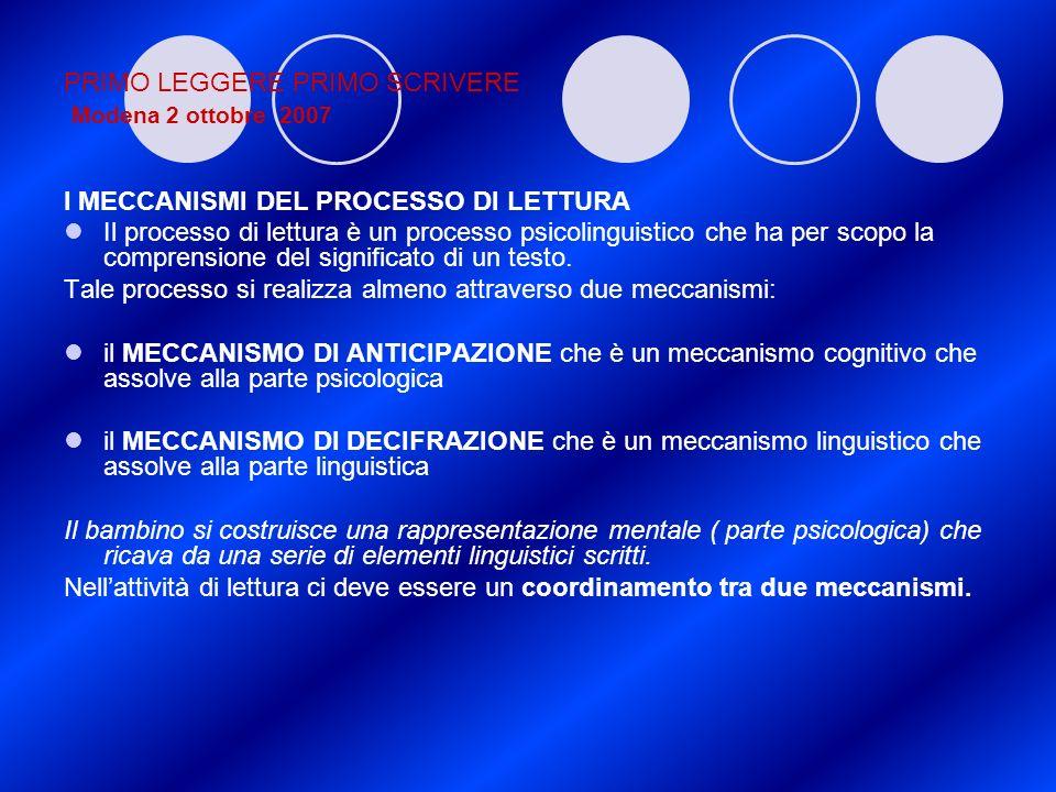 PRIMO LEGGERE PRIMO SCRIVERE Modena 2 ottobre 2007 I MECCANISMI DEL PROCESSO DI LETTURA Il processo di lettura è un processo psicolinguistico che ha p