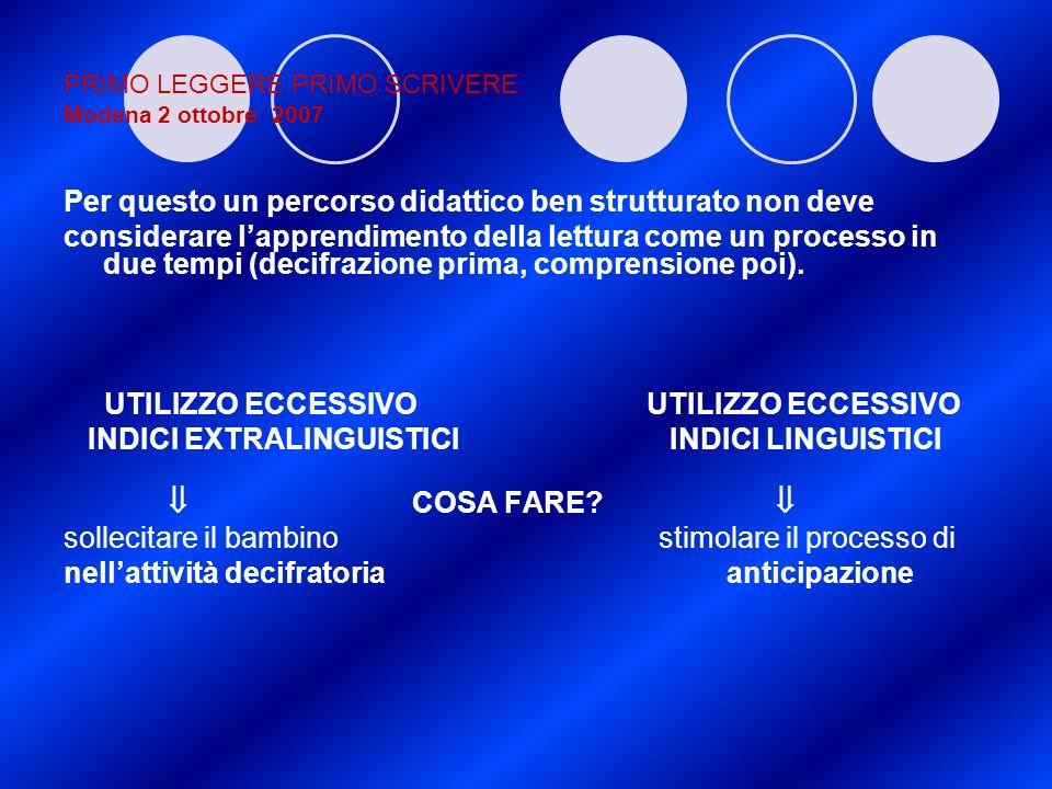 PRIMO LEGGERE PRIMO SCRIVERE Modena 2 ottobre 2007 Per questo un percorso didattico ben strutturato non deve considerare lapprendimento della lettura
