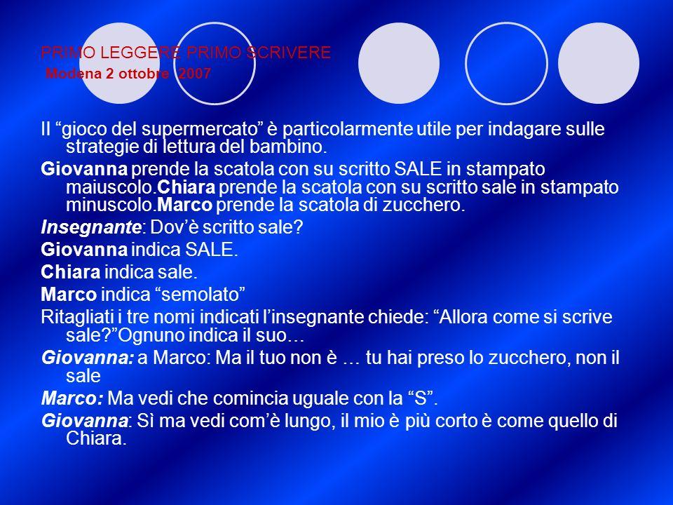 PRIMO LEGGERE PRIMO SCRIVERE Modena 2 ottobre 2007 Il gioco del supermercato è particolarmente utile per indagare sulle strategie di lettura del bambi