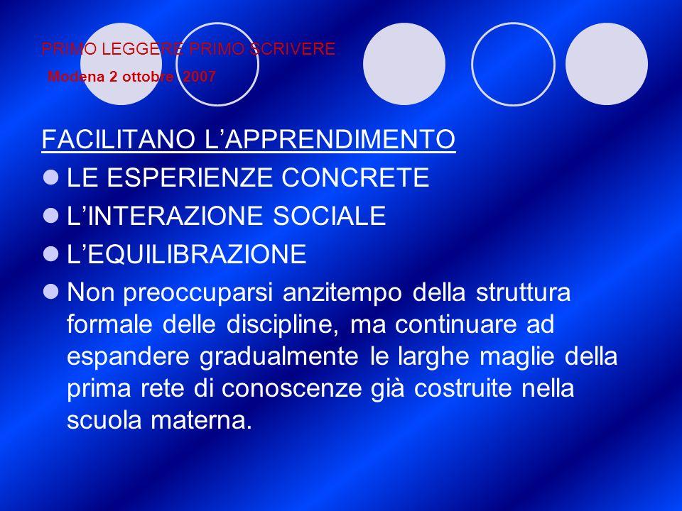PRIMO LEGGERE PRIMO SCRIVERE Modena 2 ottobre 2007 FACILITANO LAPPRENDIMENTO LE ESPERIENZE CONCRETE LINTERAZIONE SOCIALE LEQUILIBRAZIONE Non preoccupa