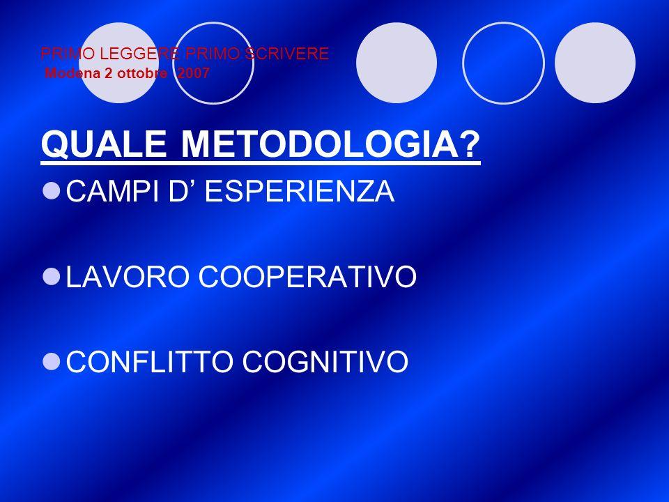 PRIMO LEGGERE PRIMO SCRIVERE Modena 2 ottobre 2007 QUALE METODOLOGIA? CAMPI D ESPERIENZA LAVORO COOPERATIVO CONFLITTO COGNITIVO