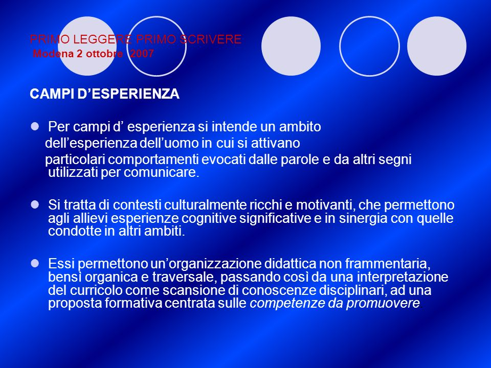 PRIMO LEGGERE PRIMO SCRIVERE Modena 2 ottobre 2007 CAMPI DESPERIENZA Per campi d esperienza si intende un ambito dellesperienza delluomo in cui si att