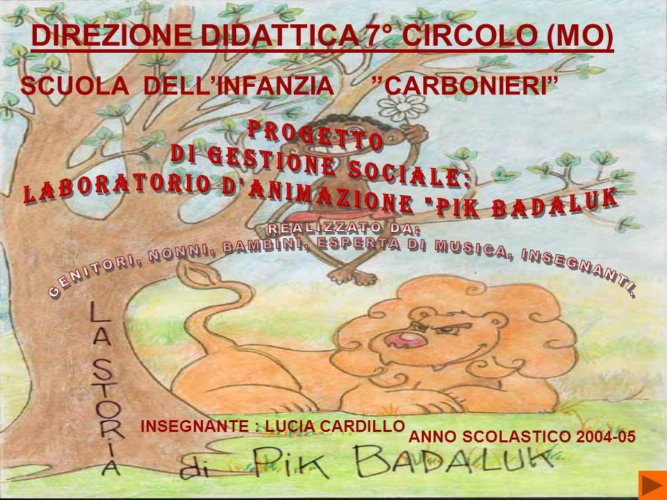 DIREZIONE DIDATTICA 7° CIRCOLO (MO) SCUOLA DELLINFANZIA CARBONIERI ANNO SCOLASTICO 2004-05 INSEGNANTE : LUCIA CARDILLO