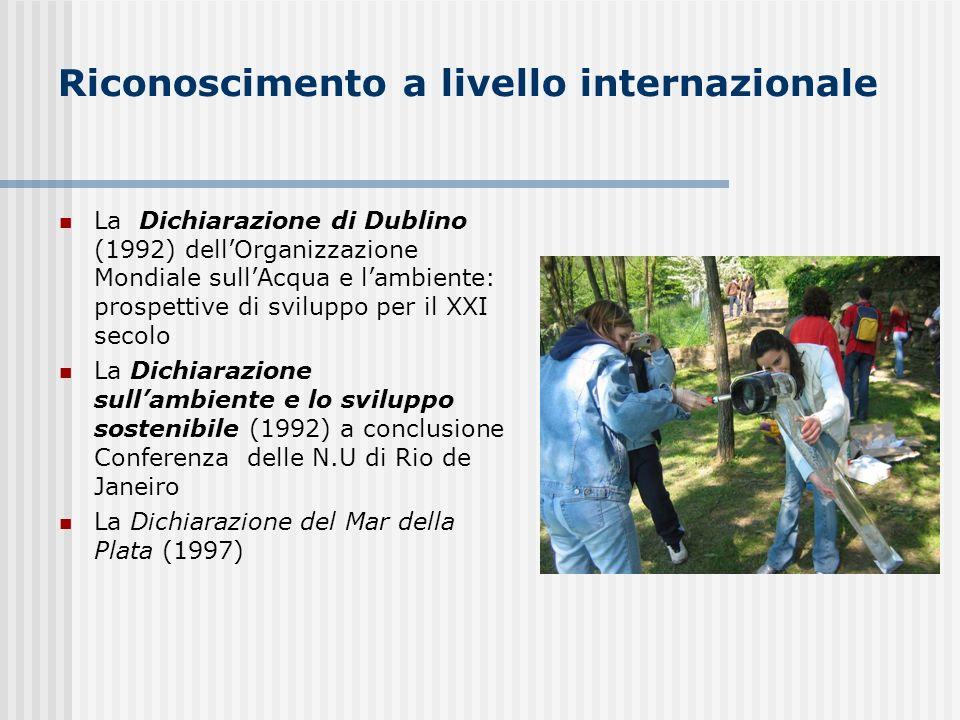 Riconoscimento a livello internazionale La Dichiarazione di Dublino (1992) dellOrganizzazione Mondiale sullAcqua e lambiente: prospettive di sviluppo