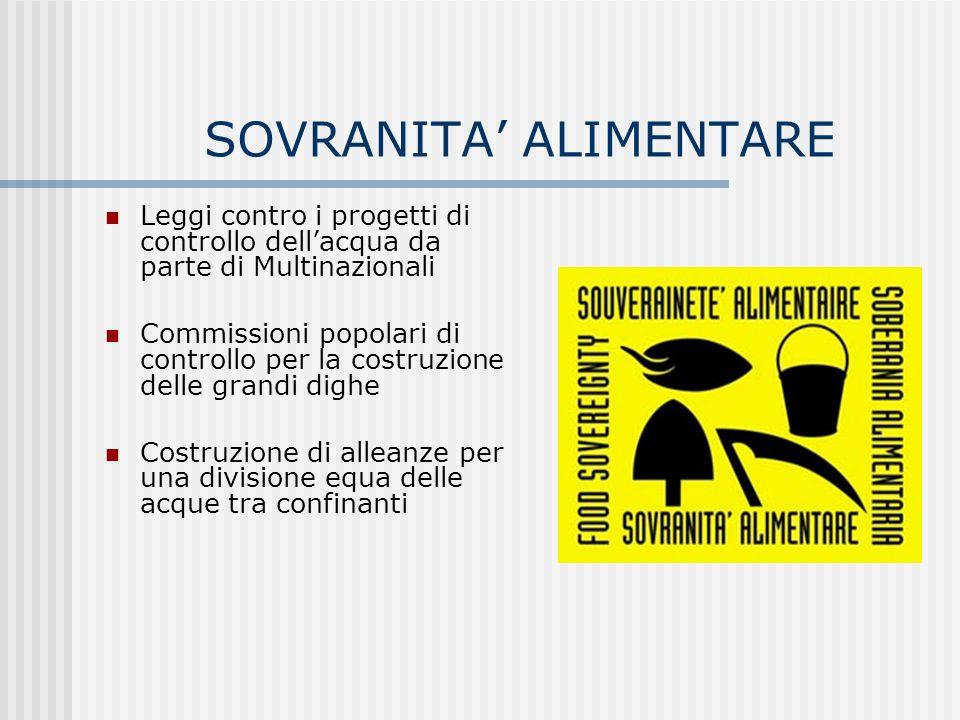 SOVRANITA ALIMENTARE Leggi contro i progetti di controllo dellacqua da parte di Multinazionali Commissioni popolari di controllo per la costruzione de