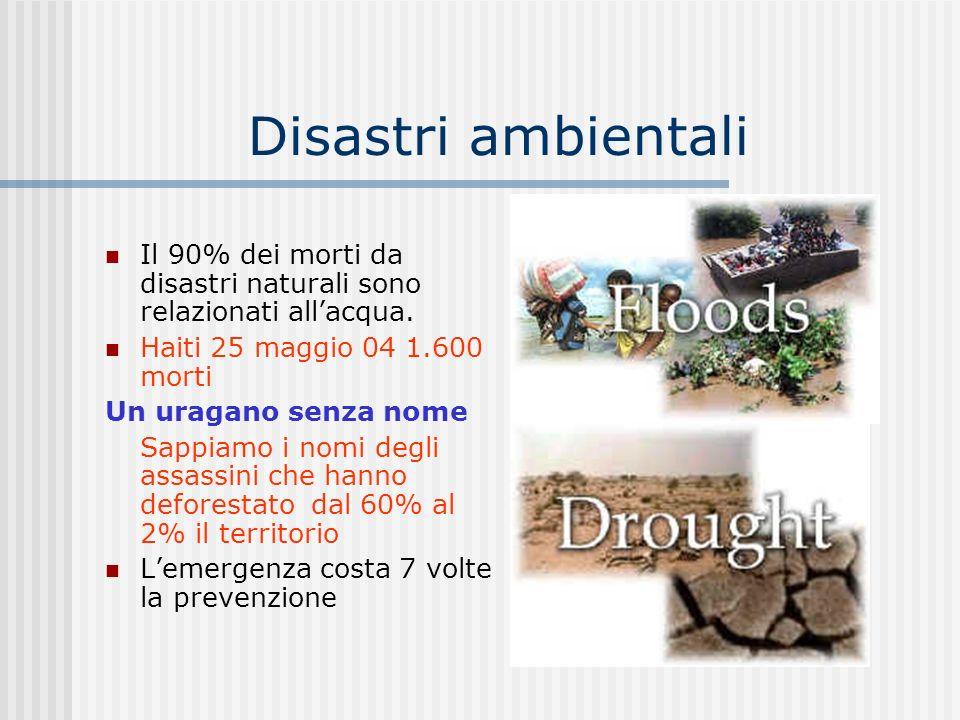 Disastri ambientali Il 90% dei morti da disastri naturali sono relazionati allacqua. Haiti 25 maggio 04 1.600 morti Un uragano senza nome Sappiamo i n