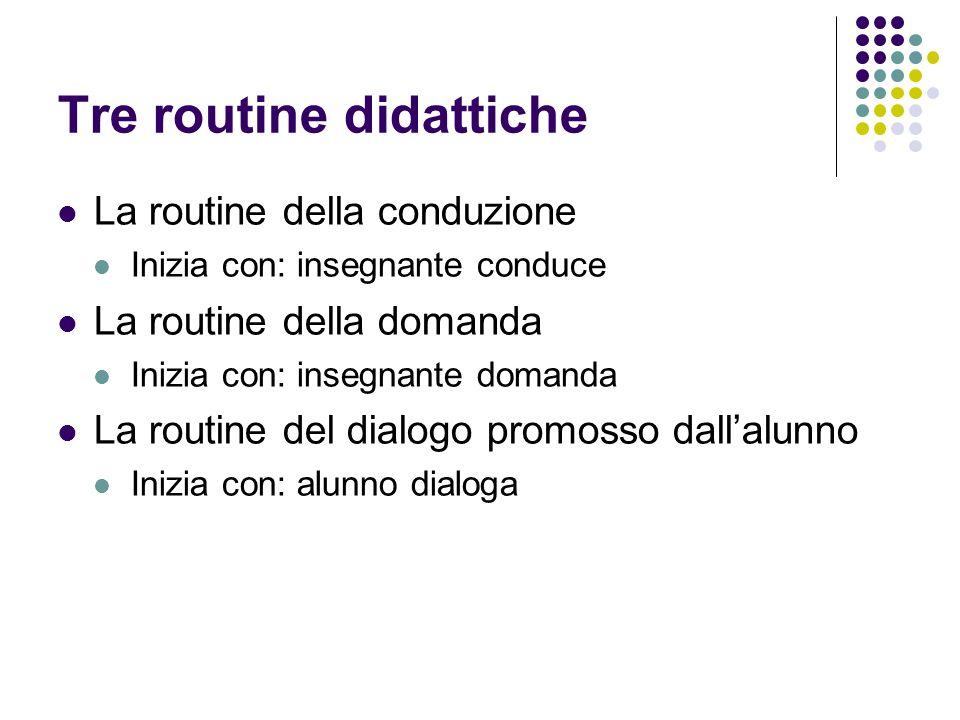 Tre routine didattiche La routine della conduzione Inizia con: insegnante conduce La routine della domanda Inizia con: insegnante domanda La routine d