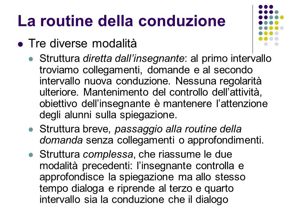 La routine della conduzione Tre diverse modalità Struttura diretta dallinsegnante: al primo intervallo troviamo collegamenti, domande e al secondo int