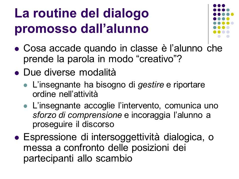 La routine del dialogo promosso dallalunno Cosa accade quando in classe è lalunno che prende la parola in modo creativo? Due diverse modalità Linsegna