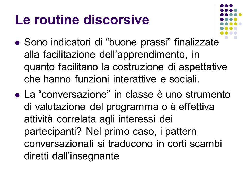 Le routine discorsive Sono indicatori di buone prassi finalizzate alla facilitazione dellapprendimento, in quanto facilitano la costruzione di aspetta