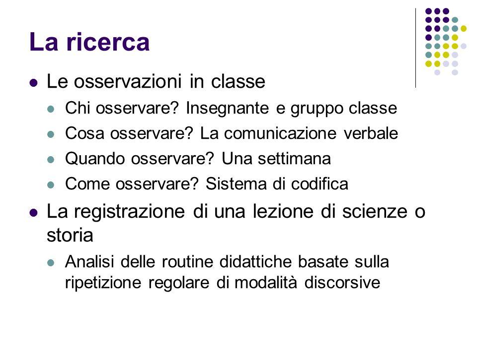 La ricerca Le osservazioni in classe Chi osservare? Insegnante e gruppo classe Cosa osservare? La comunicazione verbale Quando osservare? Una settiman