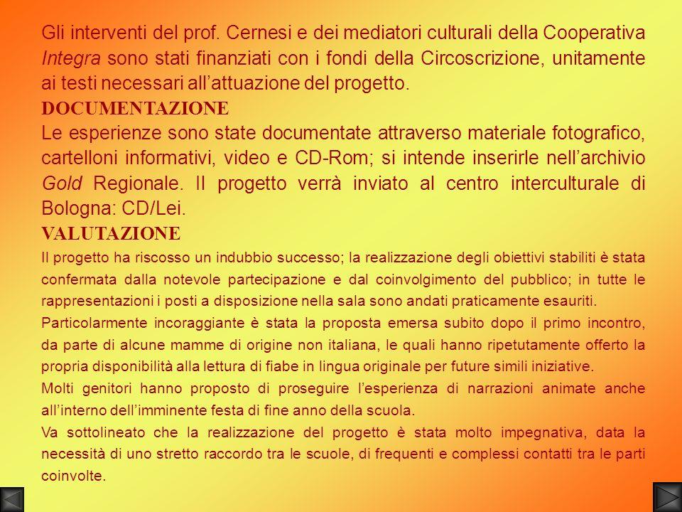 Gli interventi del prof. Cernesi e dei mediatori culturali della Cooperativa Integra sono stati finanziati con i fondi della Circoscrizione, unitament