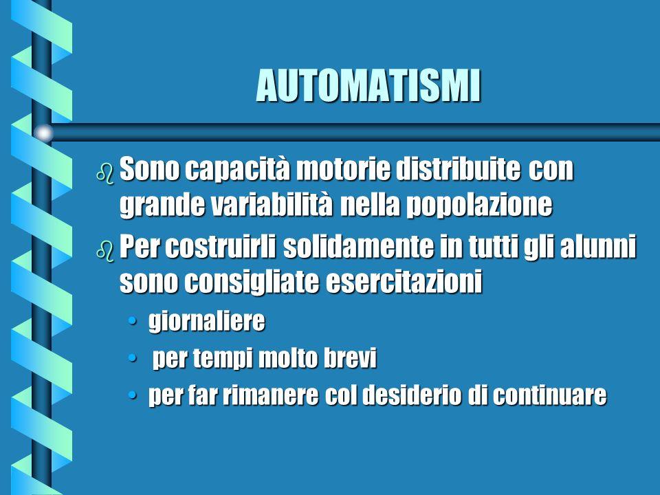 AUTOMATISMI b Sono capacità motorie distribuite con grande variabilità nella popolazione b Per costruirli solidamente in tutti gli alunni sono consigl