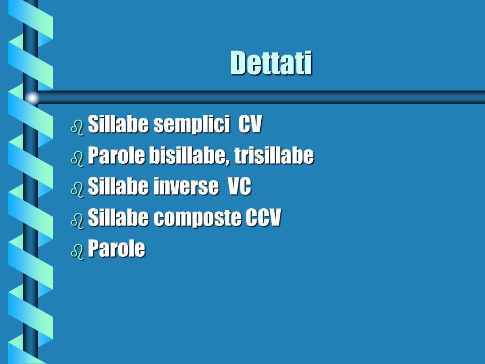 Dettati b Sillabe semplici CV b Parole bisillabe, trisillabe b Sillabe inverse VC b Sillabe composte CCV b Parole