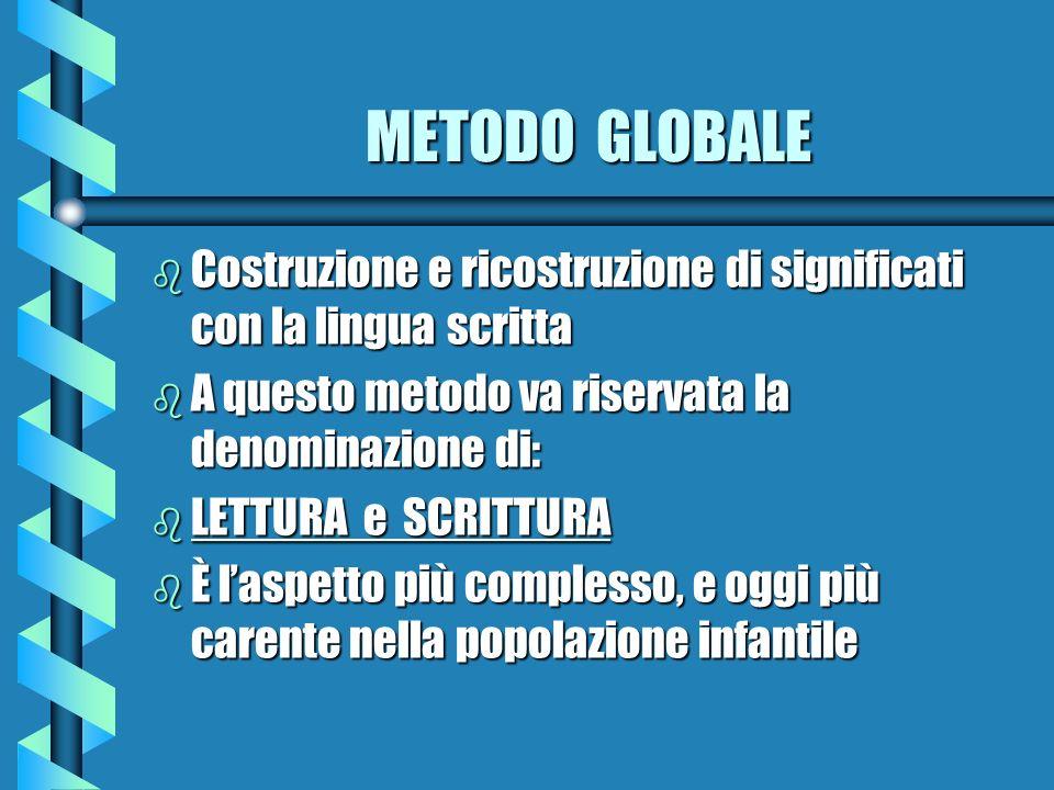 METODO GLOBALE b Costruzione e ricostruzione di significati con la lingua scritta b A questo metodo va riservata la denominazione di: b LETTURA e SCRI