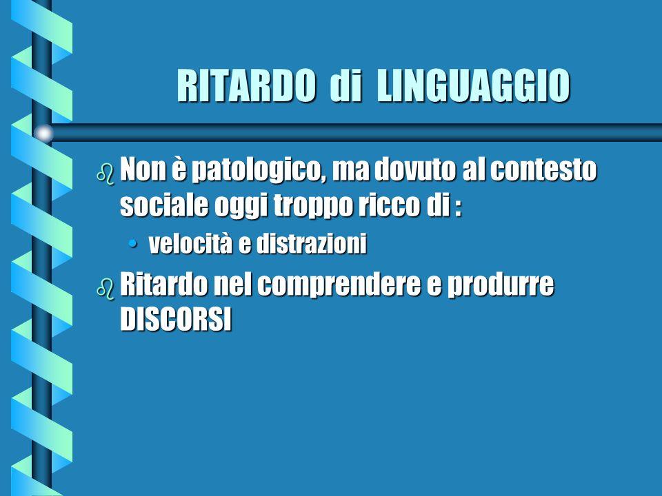 RITARDO di LINGUAGGIO RITARDO di LINGUAGGIO b Non è patologico, ma dovuto al contesto sociale oggi troppo ricco di : velocità e distrazionivelocità e