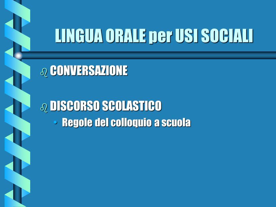 LINGUA ORALE per USI SOCIALI b CONVERSAZIONE b DISCORSO SCOLASTICO Regole del colloquio a scuolaRegole del colloquio a scuola