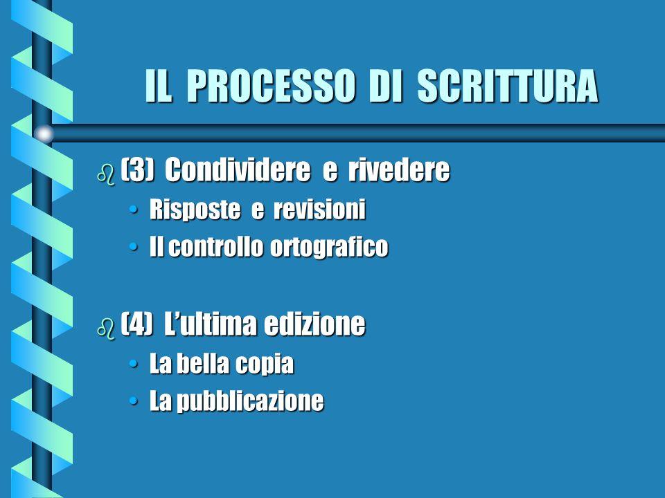 IL PROCESSO DI SCRITTURA b (3) Condividere e rivedere Risposte e revisioniRisposte e revisioni Il controllo ortograficoIl controllo ortografico b (4)