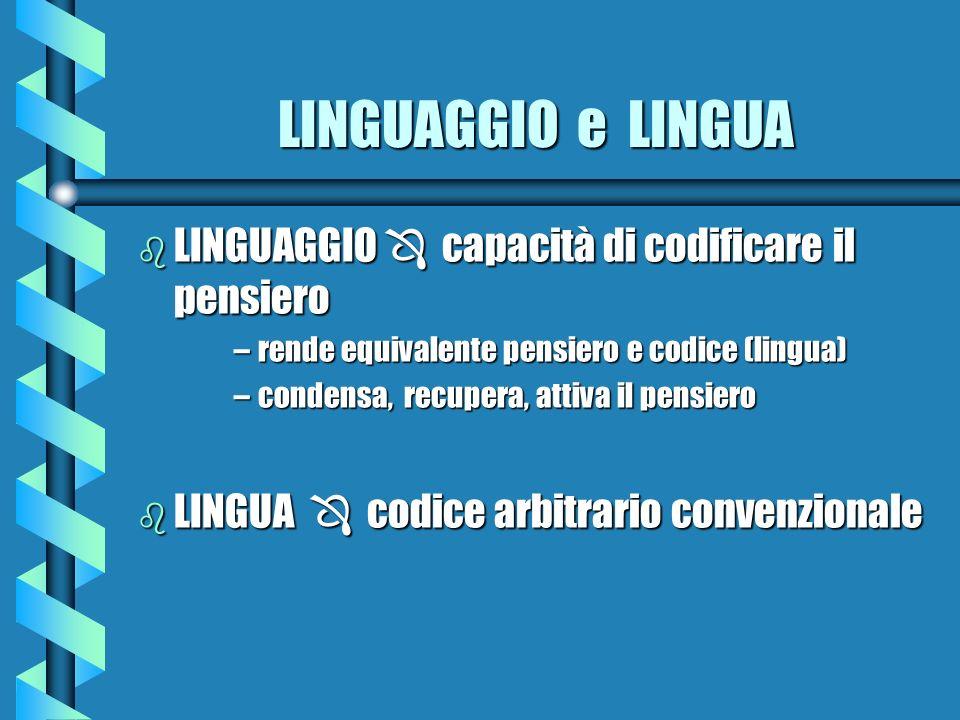 LINGUAGGIO e LINGUA b LINGUAGGIO capacità di codificare il pensiero –rende equivalente pensiero e codice (lingua) –condensa, recupera, attiva il pensi