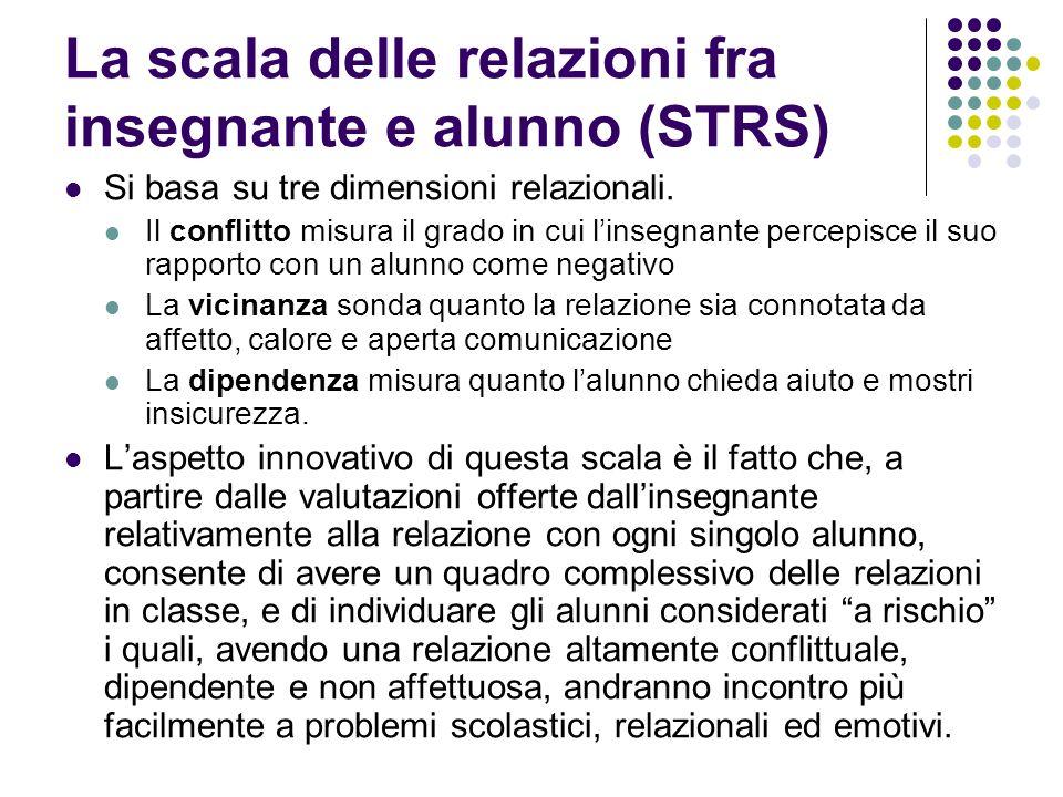 La scala delle relazioni fra insegnante e alunno (STRS) Si basa su tre dimensioni relazionali. Il conflitto misura il grado in cui linsegnante percepi