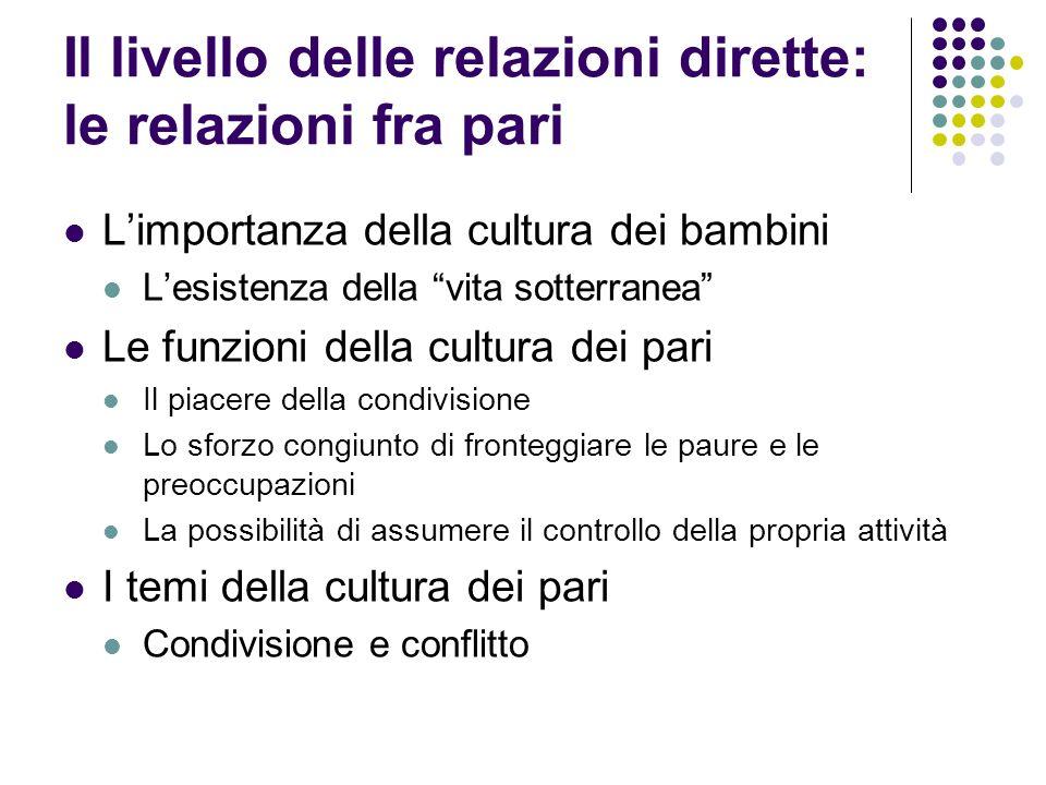 Il livello delle relazioni dirette: le relazioni fra pari Limportanza della cultura dei bambini Lesistenza della vita sotterranea Le funzioni della cu