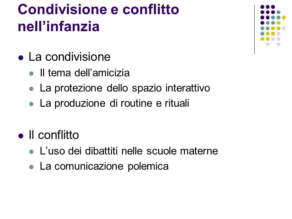 Condivisione e conflitto nellinfanzia La condivisione Il tema dellamicizia La protezione dello spazio interattivo La produzione di routine e rituali I