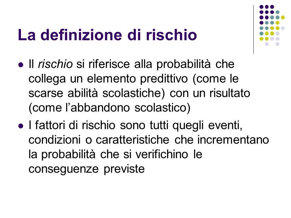 La definizione di rischio Il rischio si riferisce alla probabilità che collega un elemento predittivo (come le scarse abilità scolastiche) con un risu