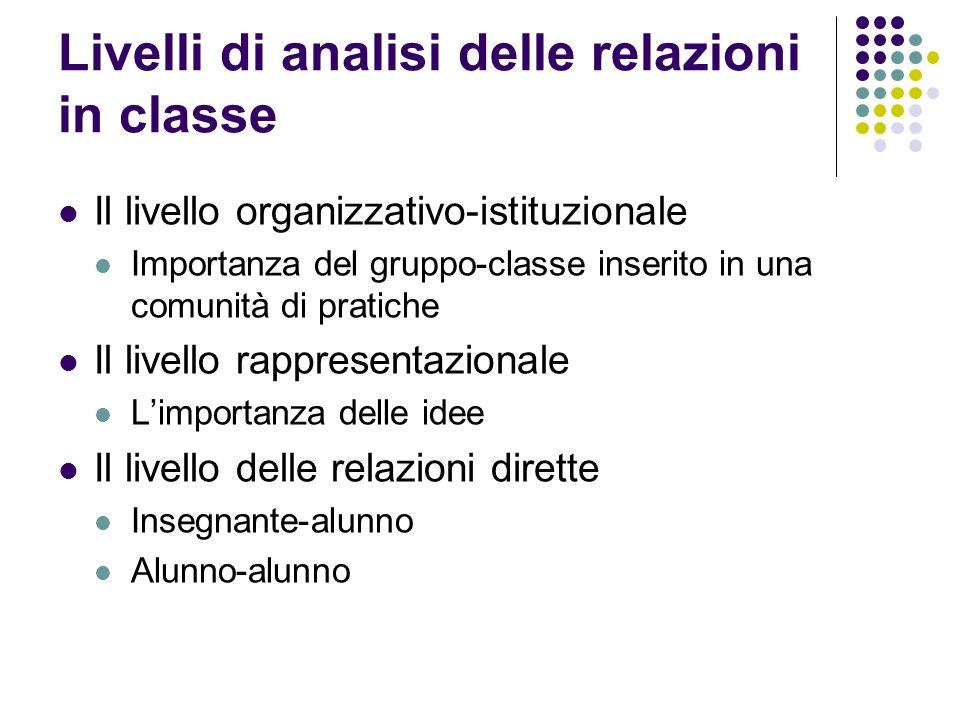 Livelli di analisi delle relazioni in classe Il livello organizzativo-istituzionale Importanza del gruppo-classe inserito in una comunità di pratiche